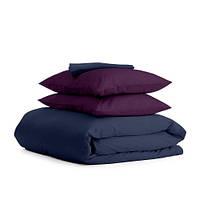 Комплект двуспального постельного белья сатин DARK BLUE VIOLET-P