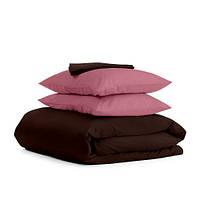 Комплект семейного постельного белья сатин CHOCOLATE PUDRA-P