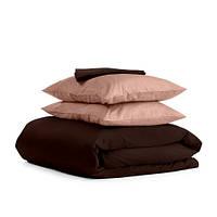 Комплект семейного постельного белья сатин CHOCOLATE BEIGE-P