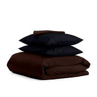 Комплект семейного постельного белья сатин CHOCOLATE BLACK-P