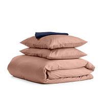 Комплект семейного постельного белья сатин BEIGE BLUE-S