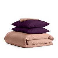 Комплект семейного постельного белья сатин BEIGE VIOLET-P