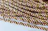 Шнур шторный атласный 5 мм персик/золото люрекс, фото 2