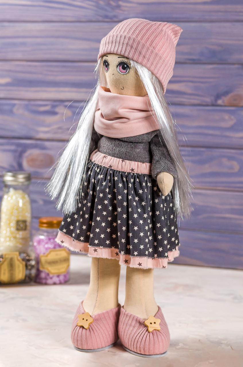 Мягкая интерьерная игрушка ручная работа девочка  39 см серый Художественная кукла Коллекционная кукла
