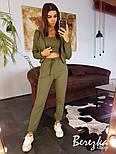 Женский стильный спортивный костюм-тройка: мастерка с капюшоном, топ и брюки (в расцветках), фото 2