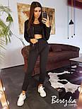 Женский стильный спортивный костюм-тройка: мастерка с капюшоном, топ и брюки (в расцветках), фото 3