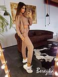 Женский стильный спортивный костюм-тройка: мастерка с капюшоном, топ и брюки (в расцветках), фото 6