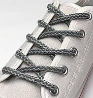Шнурки простые круглые светло/темно серые 100 см (Толщина 5 мм)
