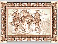 Картина резная из дерева «Богатыри»