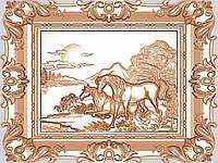 Картина резная из дерева «Кони»
