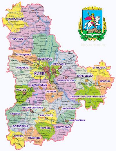 карта Киевской области и её территории