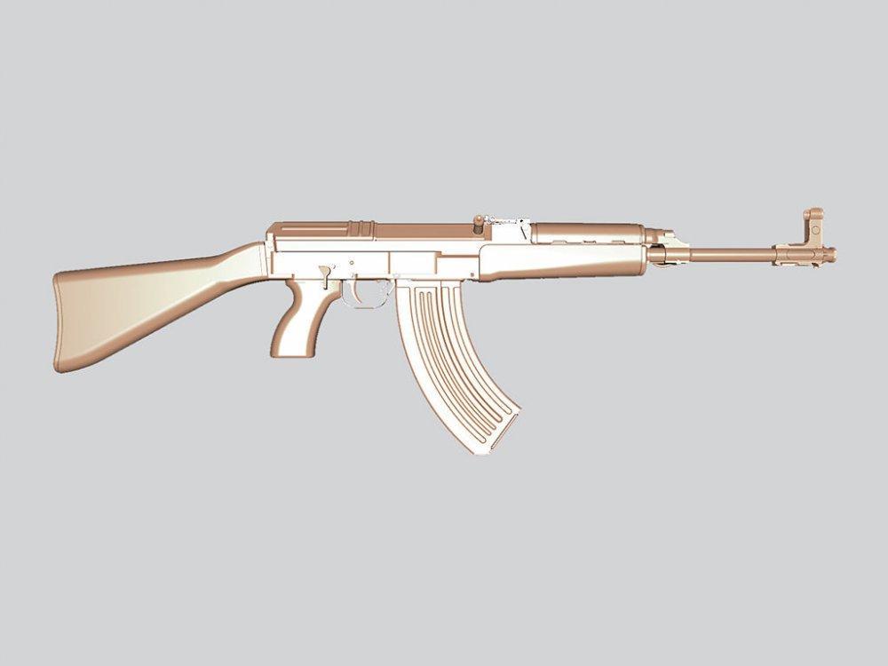 Оружие резное из дерева, автомат АК47