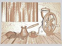 Панно резное из дерева «Кофейня»