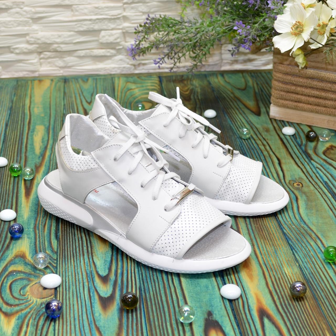 Босоножки спортивные белые кожаные на шнурках