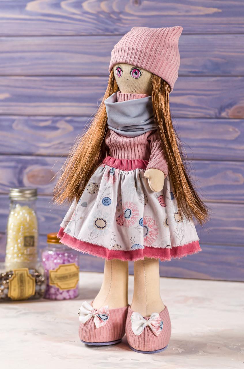 Мягкая интерьерная игрушка ручная работа девочка  39 см Темно-розовый Коллекционная кукла