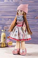 Мягкая интерьерная игрушка ручная работа девочка  39 см Темно-розовый Коллекционная кукла , фото 1