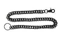 Цепь на джинсы черная плетение из четырех колец (ch-027)