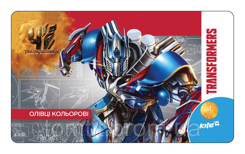 Карандаши  трехгранные «Transformers», 12 цветов, металлический пенал