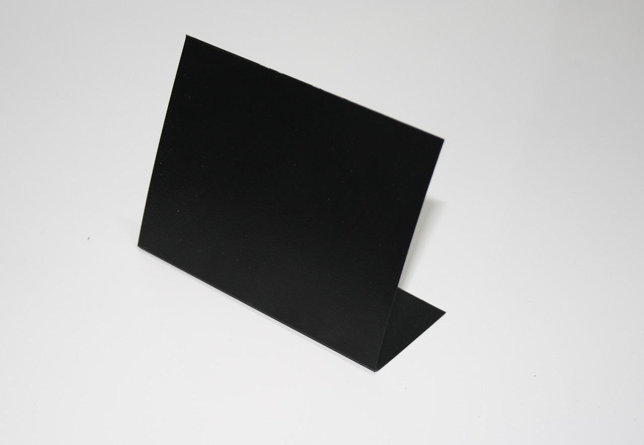 Ценник меловой 10х10 см настольный угловой L-образный. Для надписей мелом и маркером. Грифельный
