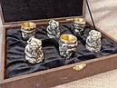 """Набір бронзових чарок ручної роботи """"Козацька рада"""" 6 шт., у подарунковому футлярі, фото 2"""