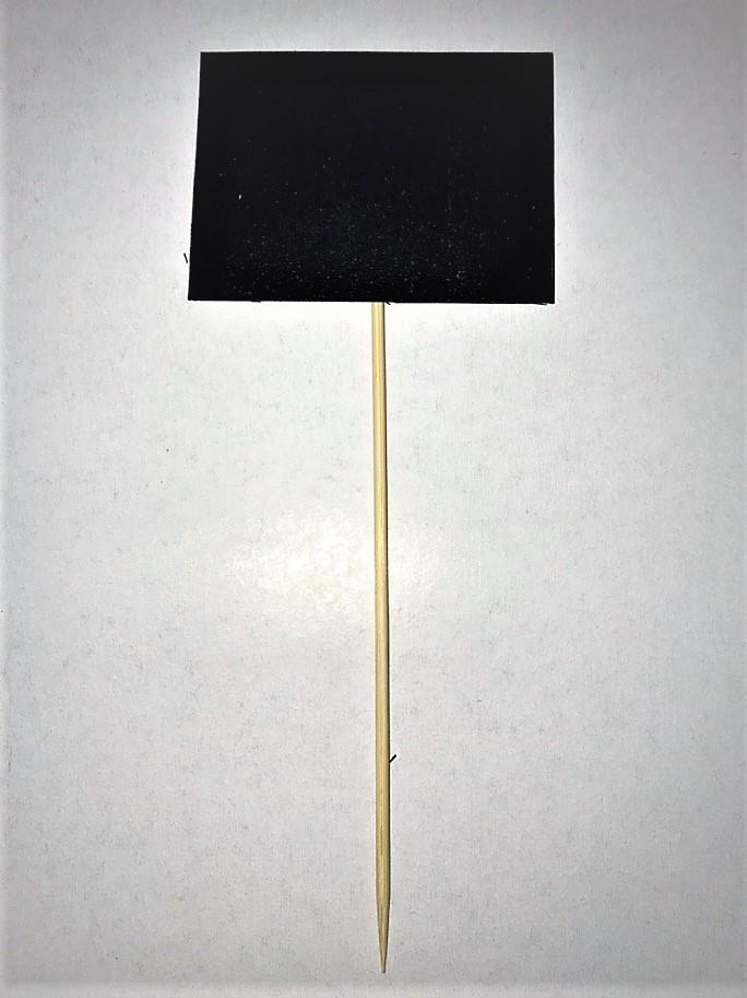 Табличка меловая 3х5 см на палочке для цветов, растений, рассады. Черный грифельный ценник