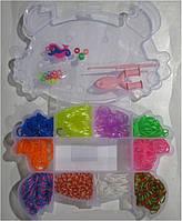 """Набор 8802 """"Краб"""" резинки для плетения 600шт +рогатка, S-клипсы, крючок, подвески в коробке"""
