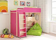 Детская кровать чердак дм100 (шкаф, лестница, кровать, полки)