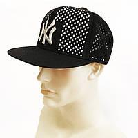 """Бейсболка мужская с сеткой прямой козырёк """"New York Yankees"""" (чёрная)"""
