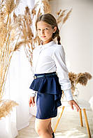 Школьная Юбка синяя Рюша тм Angel размер 140,146