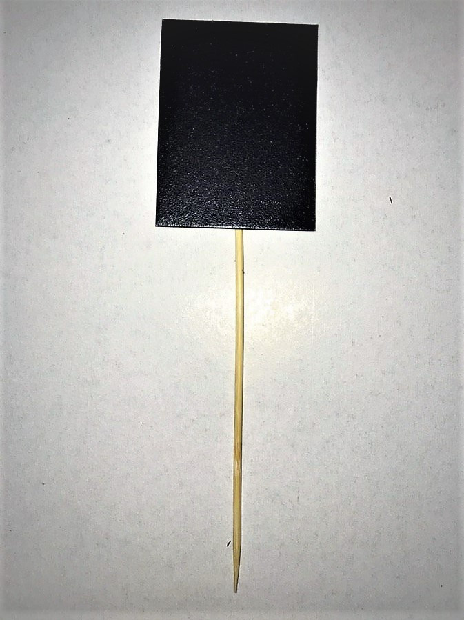 Табличка меловая 5х3 см на палочке для цветов, растений, рассады. Черный грифельный ценник