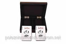 Карты игральные 2 колоды в деревянной коробке