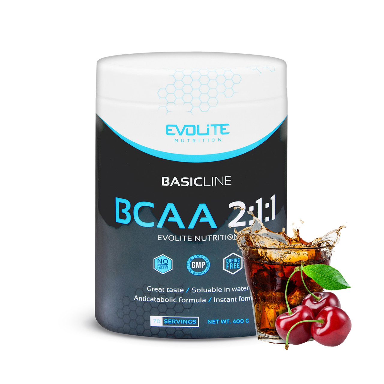 Аминокислоты бцаа Evolite Nutrition  BCAA 2:1:1  400g (Cherry Cola)