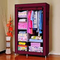 Шкаф тканевый - Текстильный гардероб  HCX 88105 105х45х170 см. Бордовый., фото 1