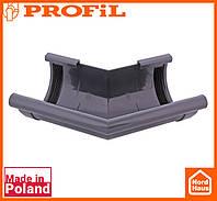 Водосточная пластиковая система PROFIL 90/75 (ПРОФИЛ ВОДОСТОК). Угол произвольный 70°- 170°.графитовый