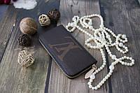Женский клатч Louis Vuitton из натуральной кожи / Кошелек Луи Вюиттон коричневый