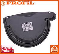Водосточная пластиковая система PROFIL 90/75 (ПРОФИЛ ВОДОСТОК). Заглушка желоба правая Р, графитовый