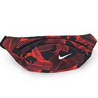 Сумка на пояс, бананка Nike черно-красная, на 2 отделения (реплика), фото 1