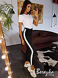 Женский стильный костюм: боди-футболка и брюки с лампасами (в расцветках), фото 6