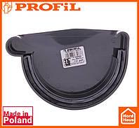 Водосточная пластиковая система PROFIL 90/75 (ПРОФИЛ ВОДОСТОК). Заглушка желоба левая L, графитовый