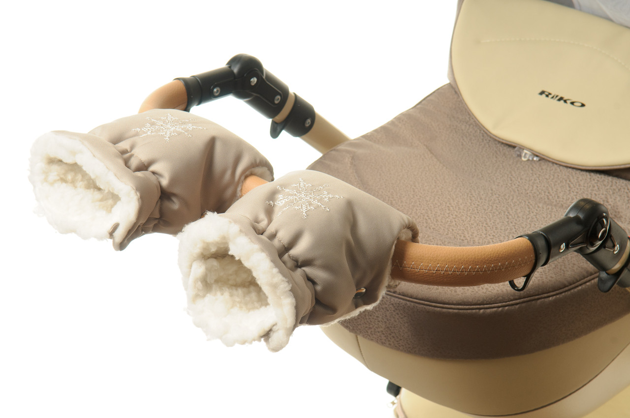 Рукавички-Муфта на коляску Ok Style Снежинка Капучино светлый