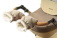 Рукавички-Муфта на коляску Ok Style Снежинка Капучино светлый, фото 1