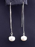 Длинные серьги с натуральным Жемчугом Серебро(925) 167998