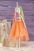 Мягкая игрушка ручная работа единорог текстиль 43 см Пастельно-оранжевый одежда снимается подарок девочке, фото 1