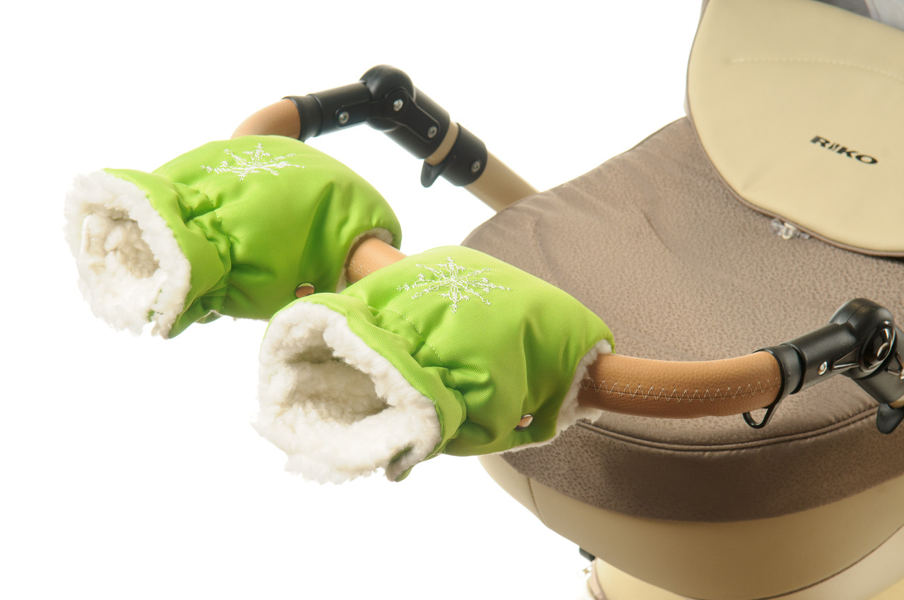 Рукавички-Муфта на коляску Ok Style Снежинка Салатовый
