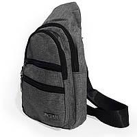 Мужская сумка через плечо,сумка мужская нагрудная JINGPLN серая, фото 1