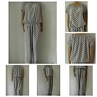 Костюм летний женский брючный из ткани софт, блуза с напуском, брюки свободные р.50 код 2339М