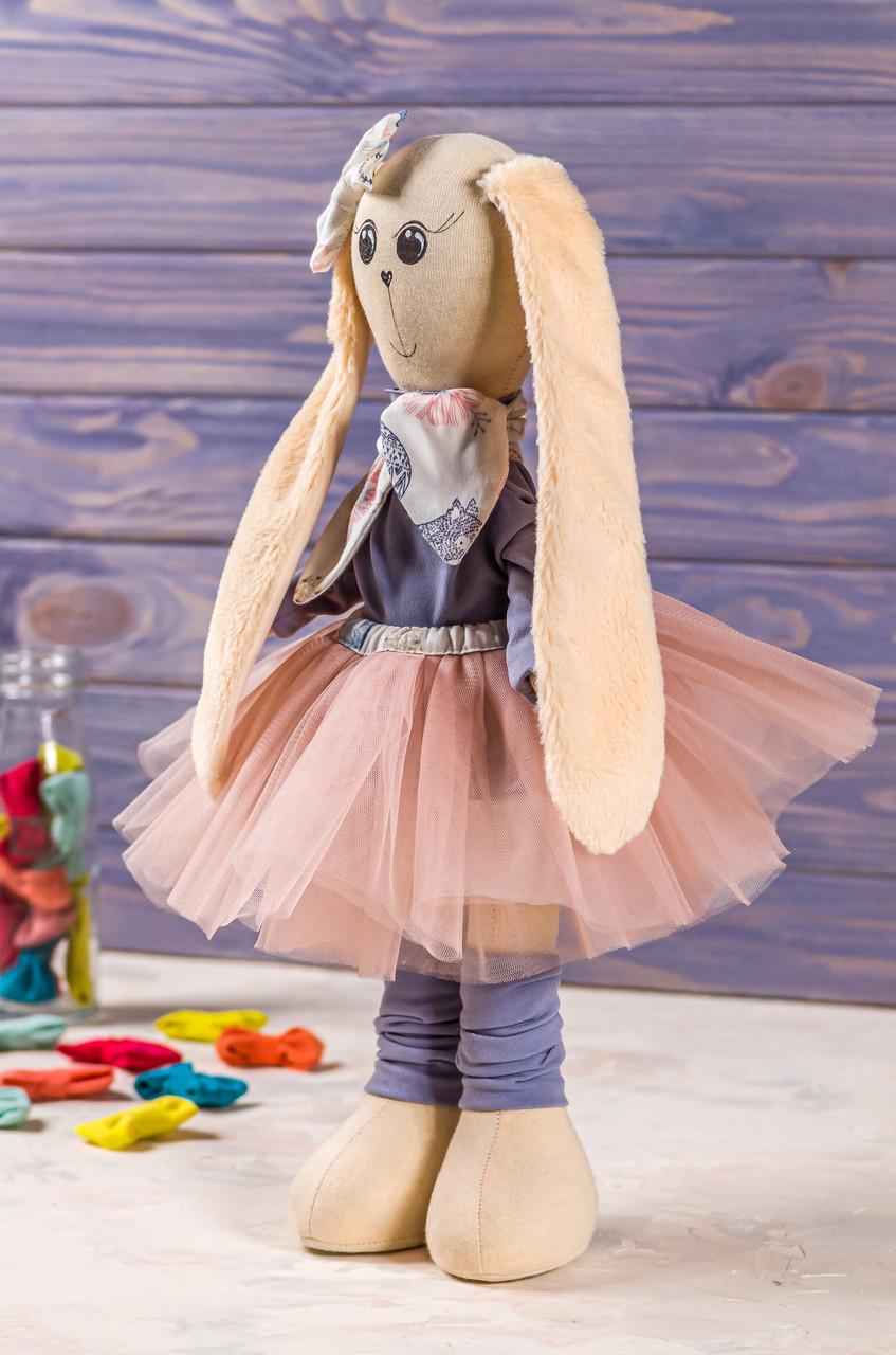 Мягкая интерьерная игрушка зая ручная работа Бежево-красный 38 см подарок любимой одежда снимается