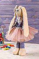 Мягкая интерьерная игрушка зая ручная работа Бежево-красный 38 см подарок любимой одежда снимается, фото 1