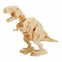 Деревянный 3D конструктор RoboTime динозавр-робот Т-Rex с управлением звуком (D210)