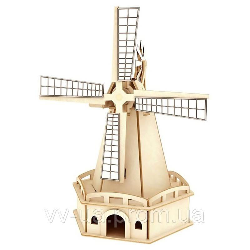 Деревянный конструктор RoboTime Ветряная мельница на солнечной батарее (w140)
